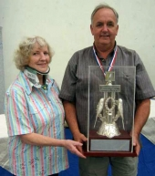 BS NSW 2012 - Jean Painter (BS NSW President) presents Ian Hanington with the Grand Champion Trophy and medal.