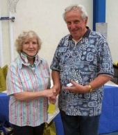 BS NSW 2012 - Jean Painter (BS NSW President) with Alan Druery, winner Best Young Bird & Best Opp Sex Any Age