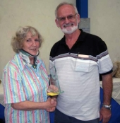 BS NSW 2012 - Jean Painter (BS NSW President) with Ray Welshman, winner Best Opp Sex Young Bird